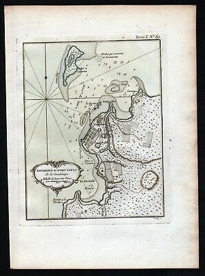 1764 - Guadeloupe Lesser Antilles Pointe a Pitre Bellin handcolored antique map