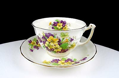 """Old Royal England Bone China Yellow And Purple Flower 2 3/8"""" Cup And Saucer Set"""