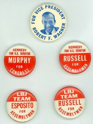 5 Vintage 1964 New York Senator Robert Kennedy LBJ Political Pinback Buttons