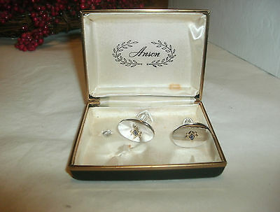 Vintage Anson Masonic Cuff Links, Silver Tone, Box