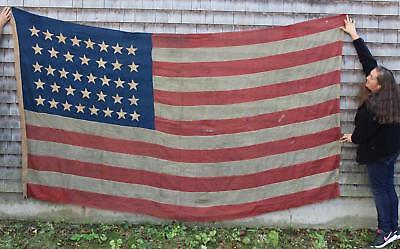 1877 Antique Western Colorado 38 Star American Flag Bunting Cloth, No Reserve!