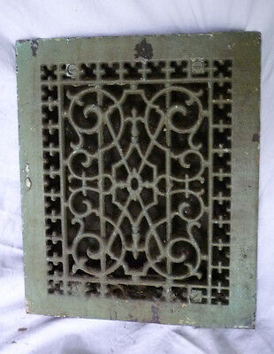 Antique Cast Iron Victorian Design Floor Grate Heat Register Louvers PAT 1885
