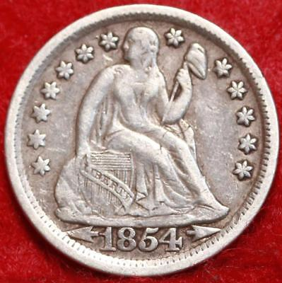 1854 Silver Philadelphia Mint Seated Liberty Dime Free Shipping