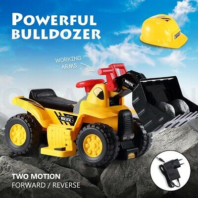 Kids Bulldozer 6V Electric Ride on Digger Car with Toy Stones & Safety Helmet