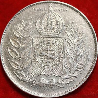 1851 Brazil 1000 Reis Silver  Foreign Coin Free S/H