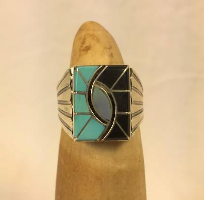 killer size 13 - Double Hummingbird Mens Ring Turquoise Jet MOP Sterling - N.Lee