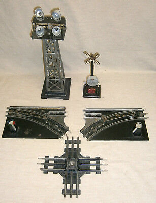 Lot of Vintage O Guage Marx Train Switches Crossing Tower Etc
