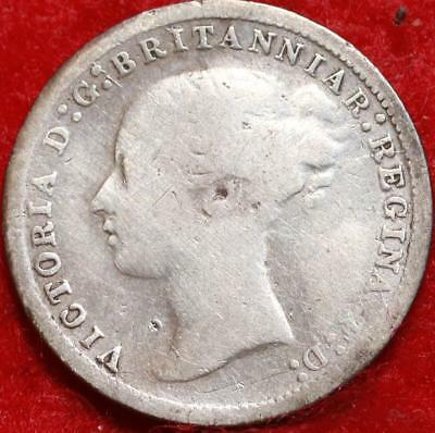 1873 Great Britain 3 Pence Silver Foreign Coin Free S/H