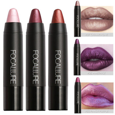 FOCALLURE Makeup Waterproof Lip Pencil Matte Metal Metallic Lipstick Lip Gloss