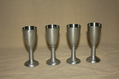 Set Of 4  Small Pewter Shot Glasses Made In Canada 6259