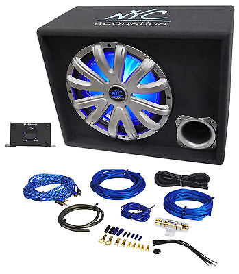 "NYC Acoustics NSE12L 12"" 1200w Powered Car Subwoofer/Sub Enclosure+LED+Amp Kit"
