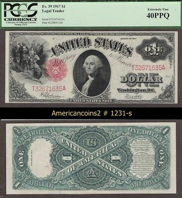 $1 1917 Red Seal FR 39 XF  PCGS 40 PPQ #1231-s