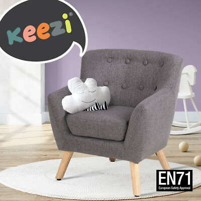 Kids Accent Armchair Fabric Sofa Wooden Lorraine French Couch Children Room Grey