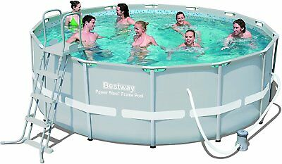 Bestway Frame Pool Power Steel Set Filter-Pumpe 427 x 122 cm Boden Abdeck-Plane