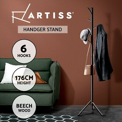 Artiss Wooden Coat Stand Rack Clothes Hanger 6 Hook Hat Jacket Bag 176cm Black