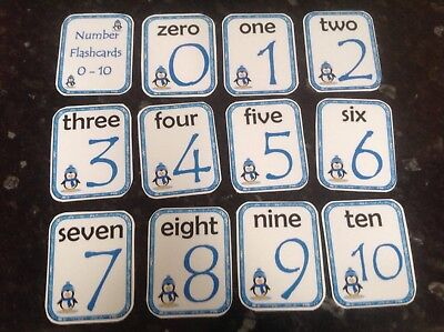 winter themed numbers flashcards numerals words penguin theme ks1 eyfs sen