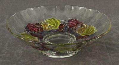 Vintage Westmoreland Footed Clear Glass Flashed Color Fruit Console Bowl 12""