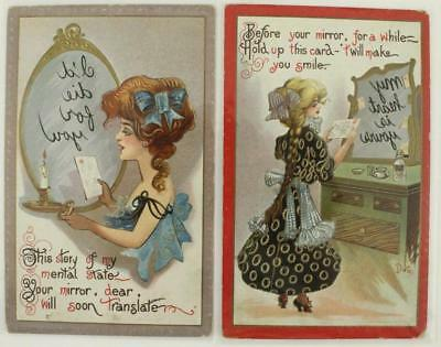 Vintage Early 1900s Postcards 2PC Lot MIRROR Reverse Text Germany Series 30