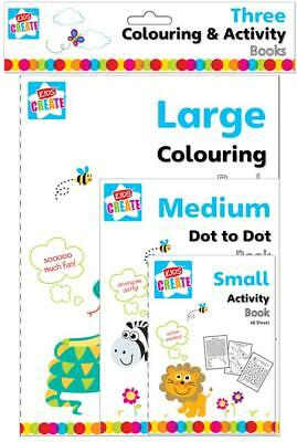 3 x Assorted Colouring & Activity Books Creative Fun Kids Crosswords Puzzles