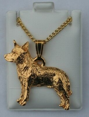 Australian Cattle Dog Dog 24K Gold Plated Pewter Pendant Chain Necklace Set