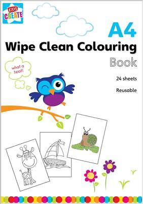 A4 Reusable Wipe Clean Colouring Book Kids Toddlers Fun Creative Activites