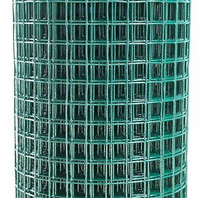 """18ga Green PVC Coated Fence Welded Mesh Wire Fencing 1/2"""" x 1/2"""" 0.9 x 6m Roll"""