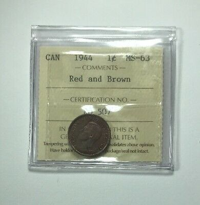 1944 Canadian One Cent Coin ICCS Graded MS-63 Red And Brown