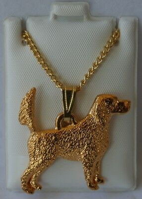 English Setter Tail Up Dog 24K Gold Plated Pewter Pendant Chain Necklace Set
