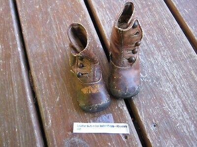 95 year old Antique Victorian Baby Button Top Shoes For Doll/Child Brown Leather
