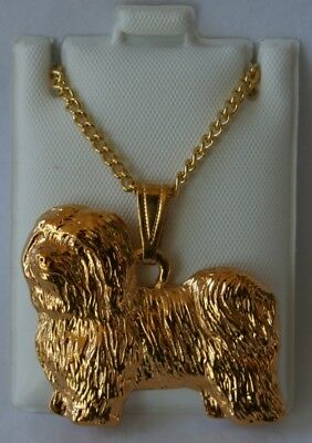 Havanese Dog 24K Gold Plated Pewter Pendant Chain Necklace Set