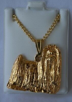 Maltese Show Cut Dog 24K Gold Plated Pewter Pendant Chain Necklace Set