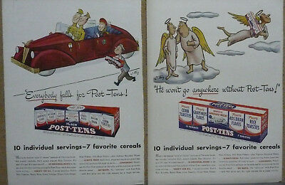 Post-Tens Cereal Ad Lot (2) - 1946