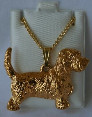 Petit Basset Griffon Dog 24K Gold Plated Pewter Pendant Chain Necklace Set