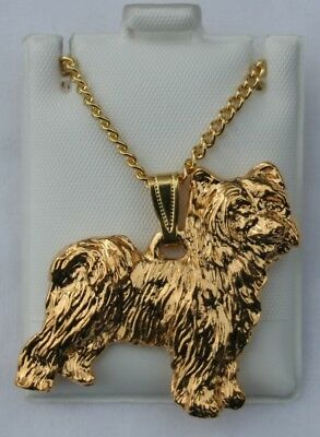 Chinese Crested PowderPuff Dog 24K Gold Plated Pewter Pendant Chain Necklace Set