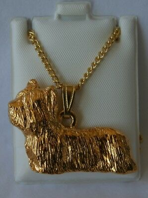 Skye Terrier Dog 24K Gold Plated Pewter Pendant Chain Necklace Set