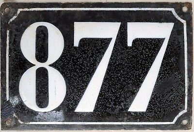 Large old black French house number 877 door gate plate plaque enamel metal sign