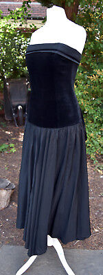Vintage Laura Ashley 1980s Black Velvet Dropped Waist Strapless Cocktail Dress
