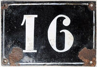 Large old black French house number 16 door gate plate plaque enamel metal sign