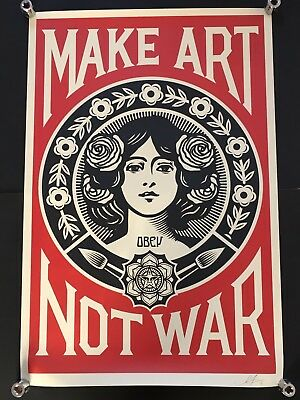 SHEPARD FAIREY OBEY Make Art Not War large SIGNED art poster print Giant
