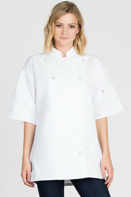 Uncommon Threads chef coat, white, Short Sleeve Classic Button  XS-6XL, C0495