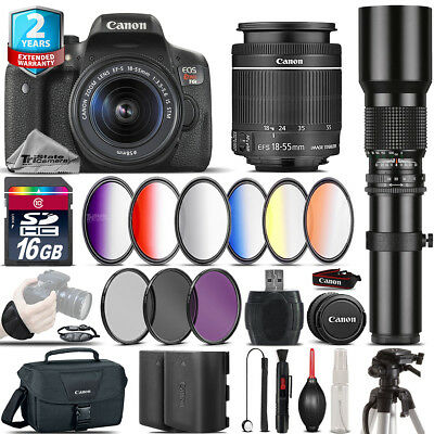 Canon EOS Rebel T6i + 18-55mm IS STM + 500mm + 6PC Graduated Filter - 16GB