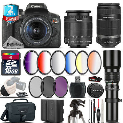 Canon EOS Rebel T6i + 18-55mm IS STM + 55-250mm IS + Extra Battery - 16GB Kit