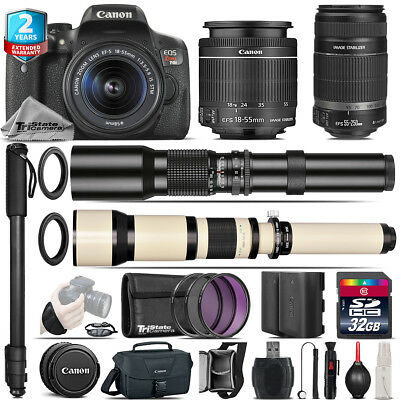 Canon EOS Rebel T6i + 18-55mm IS STM + 55-250mm IS + 500-1300mm - 32GB Kit