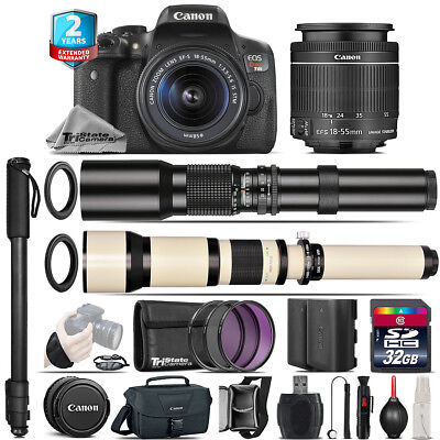 Canon EOS Rebel T6i + 18-55mm IS STM + 500-1300mm + Extra Battery - 32GB Kit