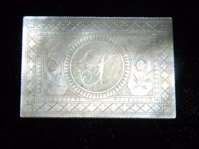 Antique Chinese Hand Carved Rectangular Mother Of Pearl Monogrammed Gaming Chip
