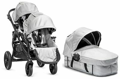 Baby Jogger City Select Twin Double Stroller Silver with Second Seat & Bassinet
