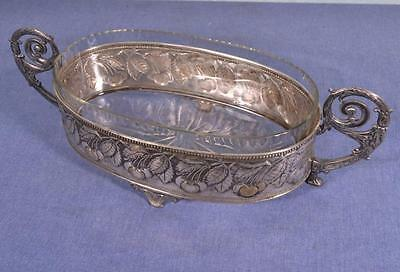 French Antique Silver Plated Bronze Centerpiece Jardiniere with Glass Liner