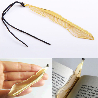 Novelty Gold Plated Metal Hollow Animal Feather Bookmark Book Paper Reading Gift