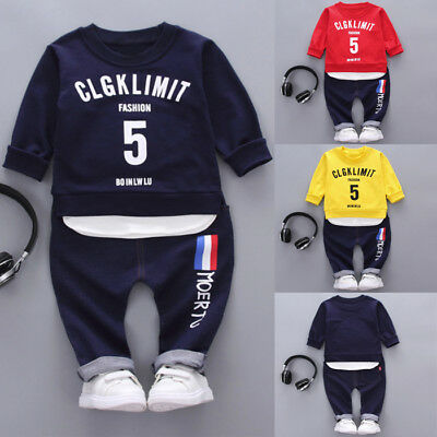 2PCS/Set Toddler Kids Baby Boys T-shirt Tops+Long Pants Tracksuit Outfit Clothes