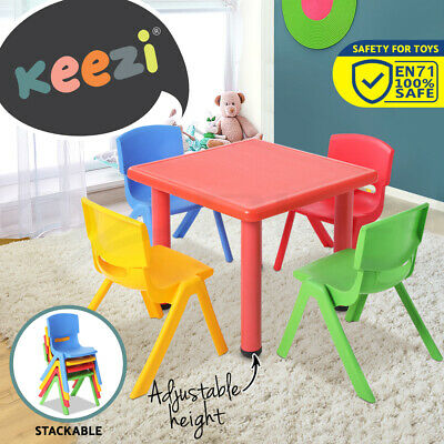 Keezi Kids Table and Chair Set Children Study Desk Furniture Plastic Red 5PC